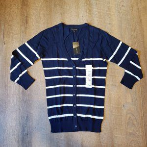 The Limited 3/4 Sleeve Cardigan Small Navy/White